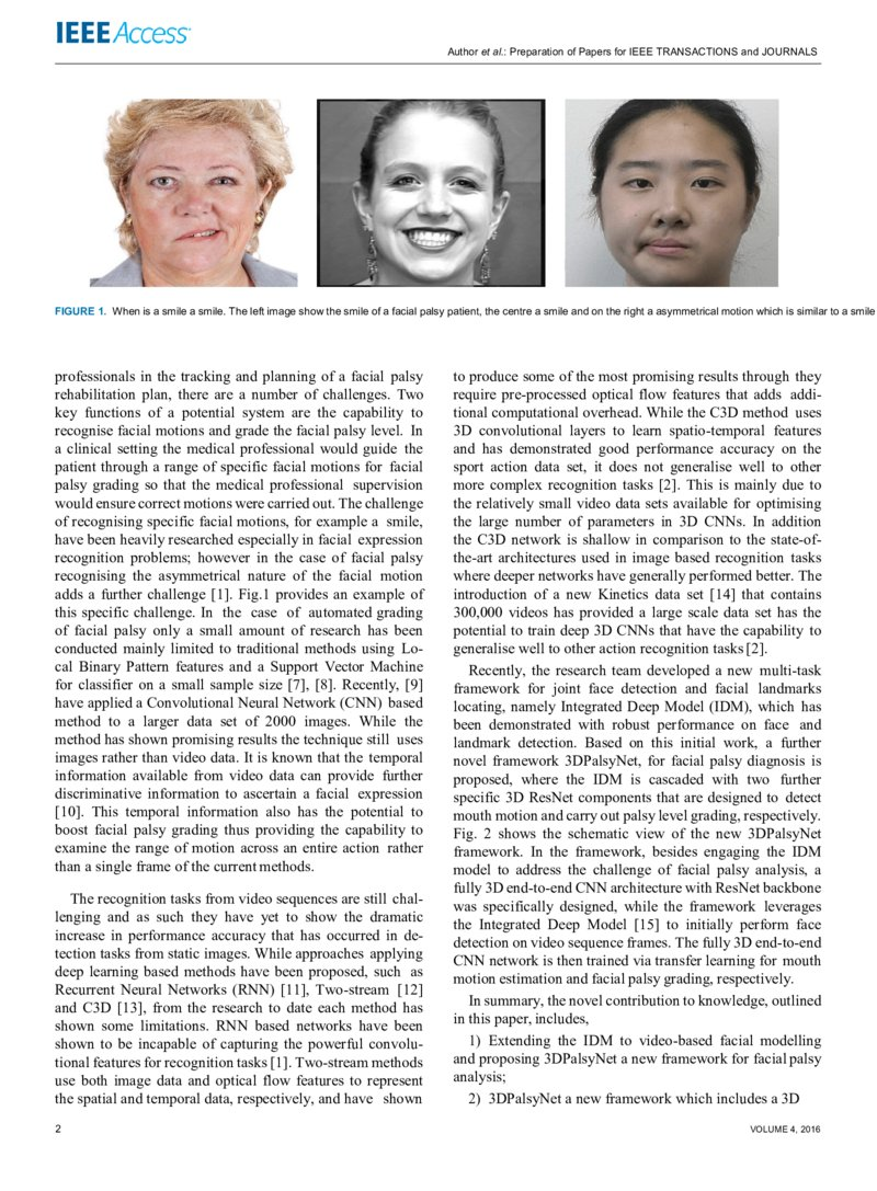 3DPalsyNet: A Facial Palsy Grading and Motion Recognition