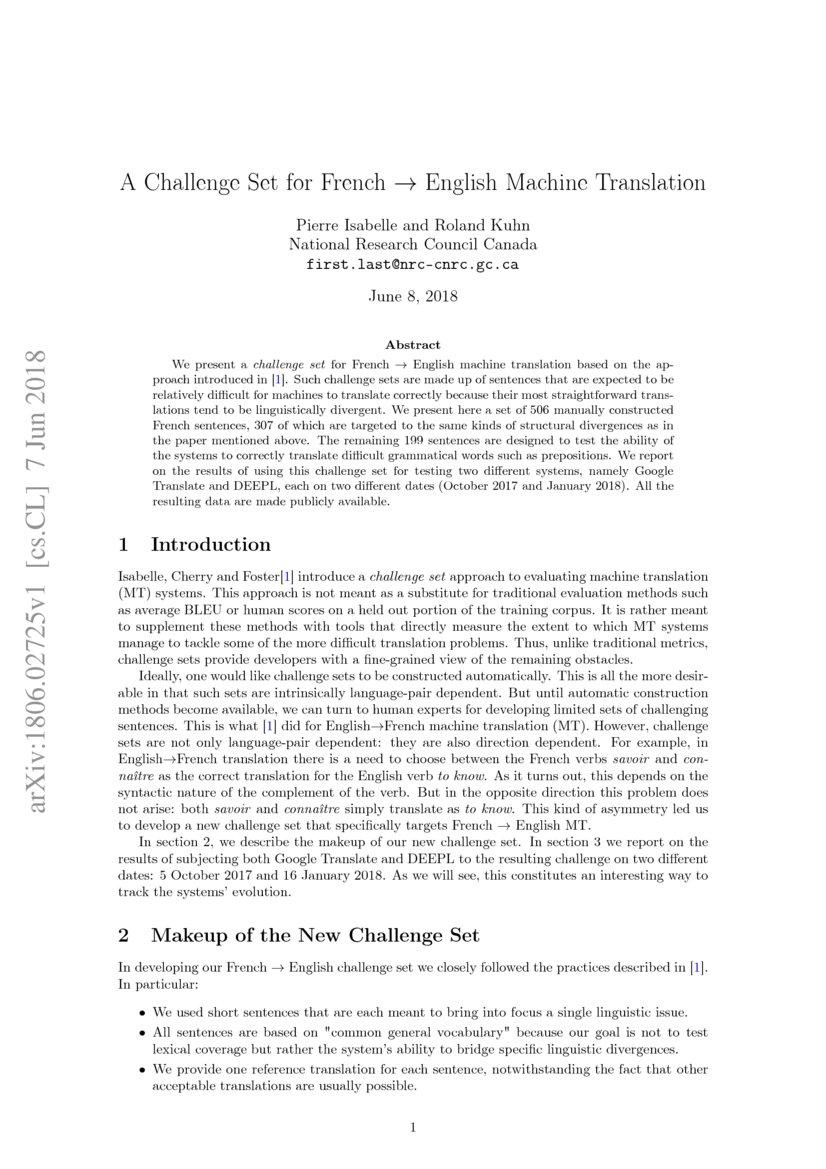 A Challenge Set For French English Machine Translation Deepai