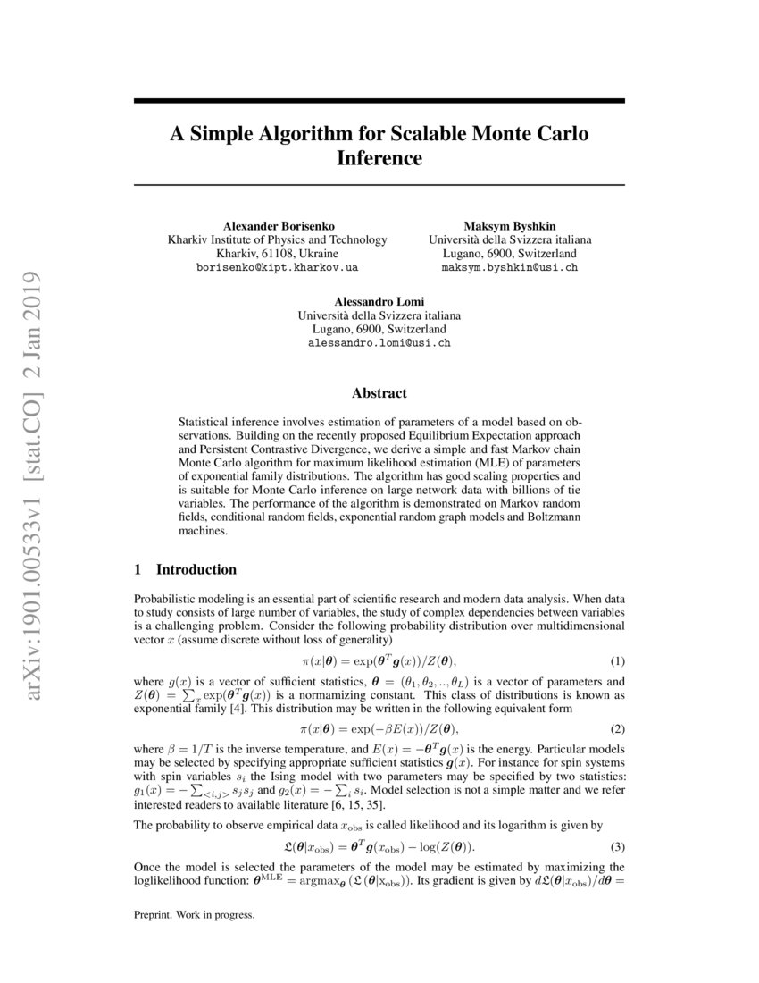A Simple Algorithm for Scalable Monte Carlo Inference | DeepAI