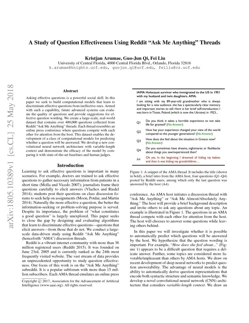 A Study of Question Effectiveness Using Reddit
