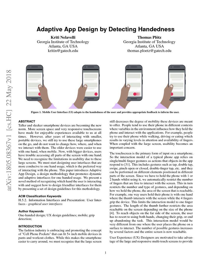 Adaptive App Design by Detecting Handedness | DeepAI