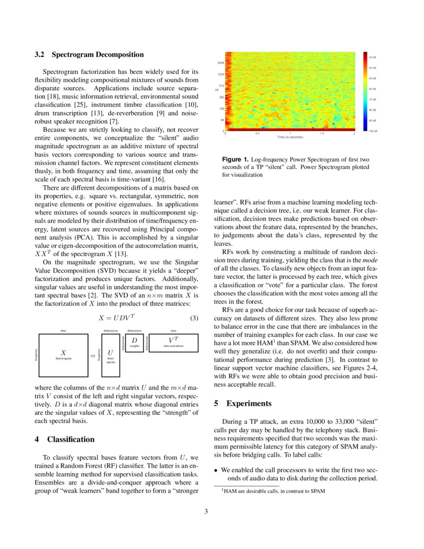 Audio Spectrogram Factorization for Classification of