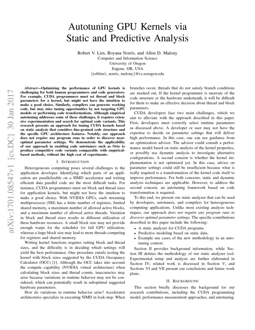 Autotuning GPU Kernels via Static and Predictive Analysis