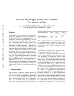 Bayesian Modeling of Intersectional Fairness: The Variance