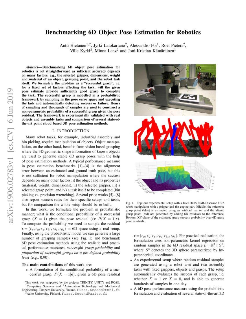 Benchmarking 6D Object Pose Estimation for Robotics | DeepAI