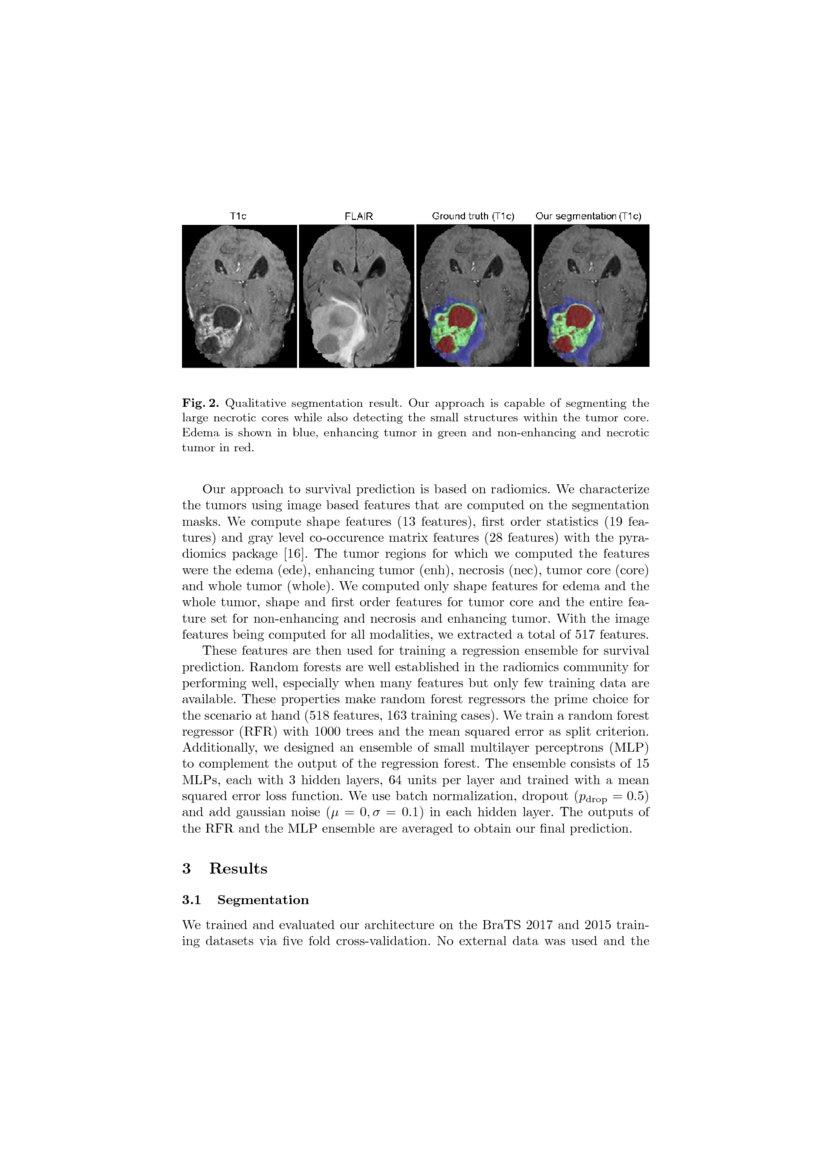 Brain Tumor Segmentation and Radiomics Survival Prediction