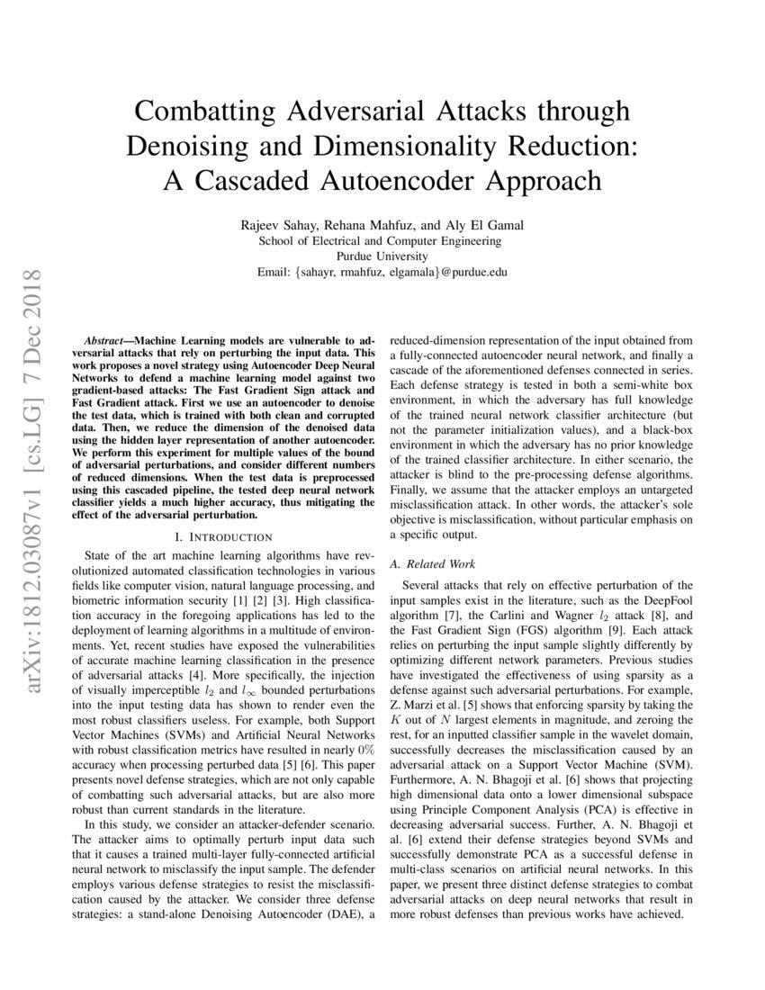 Combatting Adversarial Attacks through Denoising and