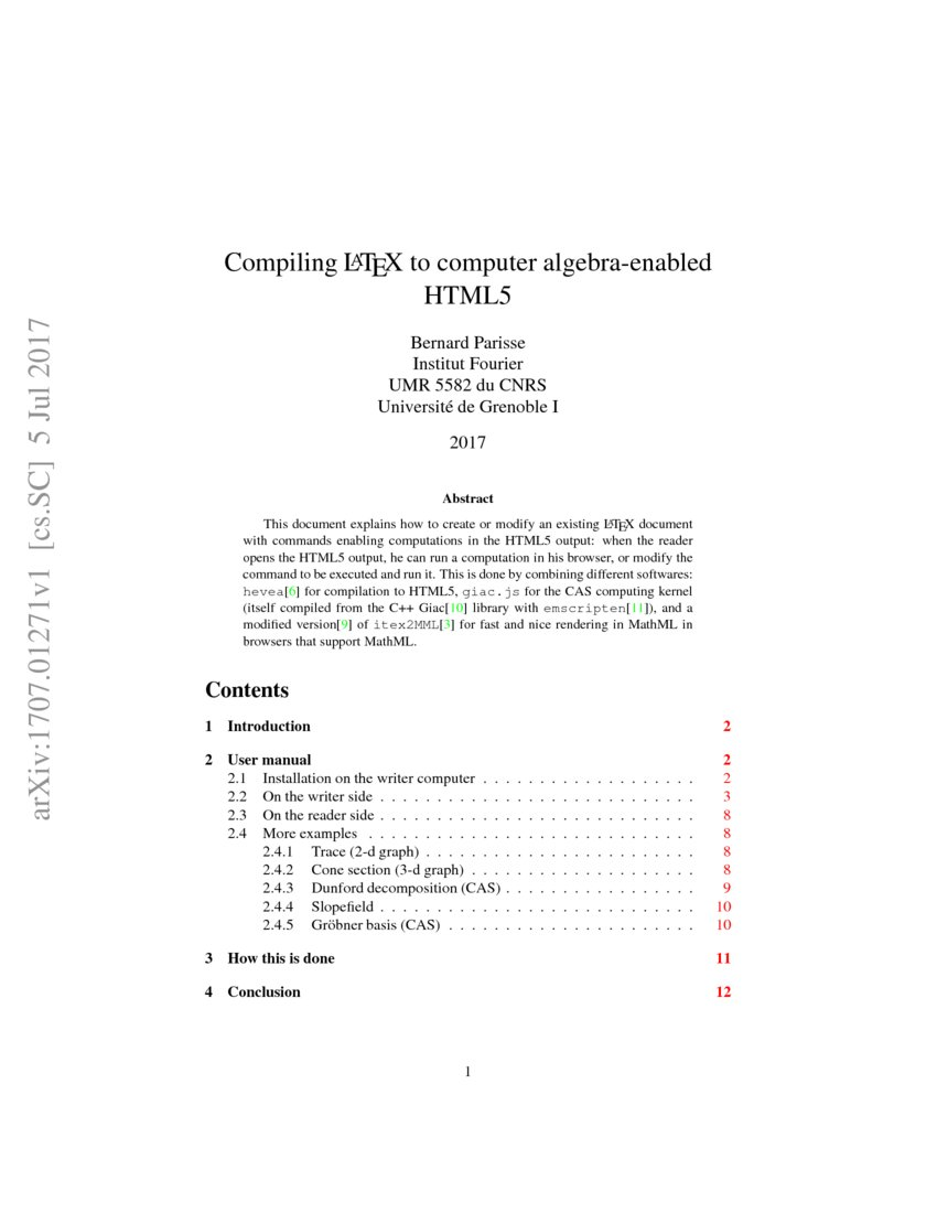 Compiling LATEX to computer algebra-enabled HTML5 | DeepAI