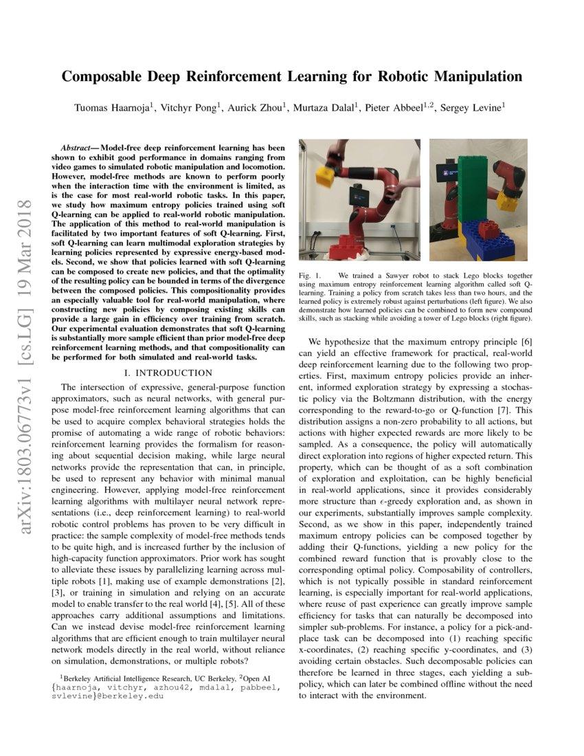 Composable Deep Reinforcement Learning for Robotic Manipulation | DeepAI