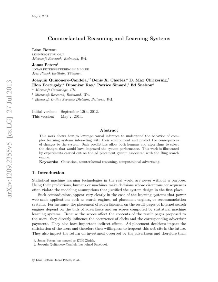 Counterfactual Reasoning and Learning Systems - Research Article