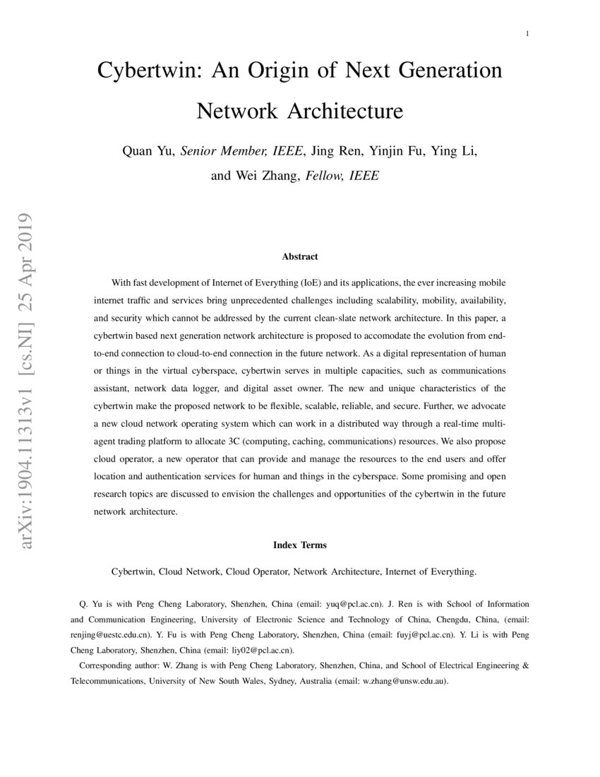 Cybertwin: An Origin of Next Generation Network Architecture