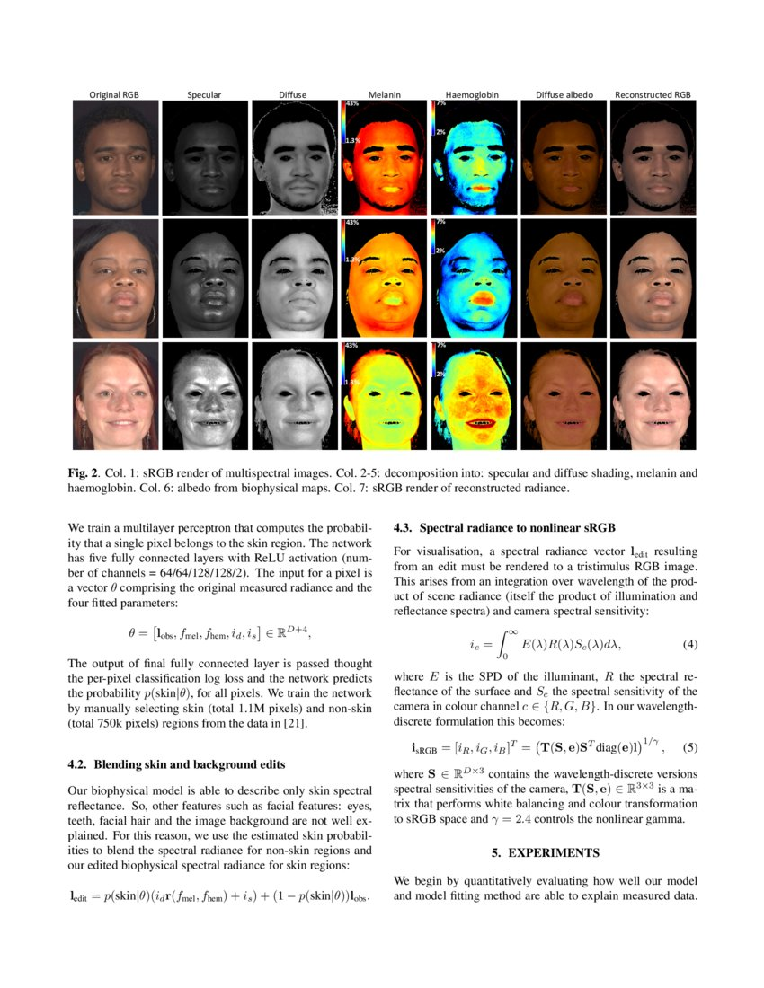 Decomposing multispectral face images into diffuse and