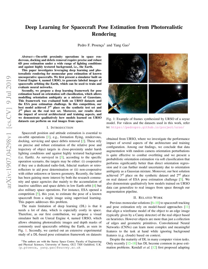 Deep Learning for Spacecraft Pose Estimation from