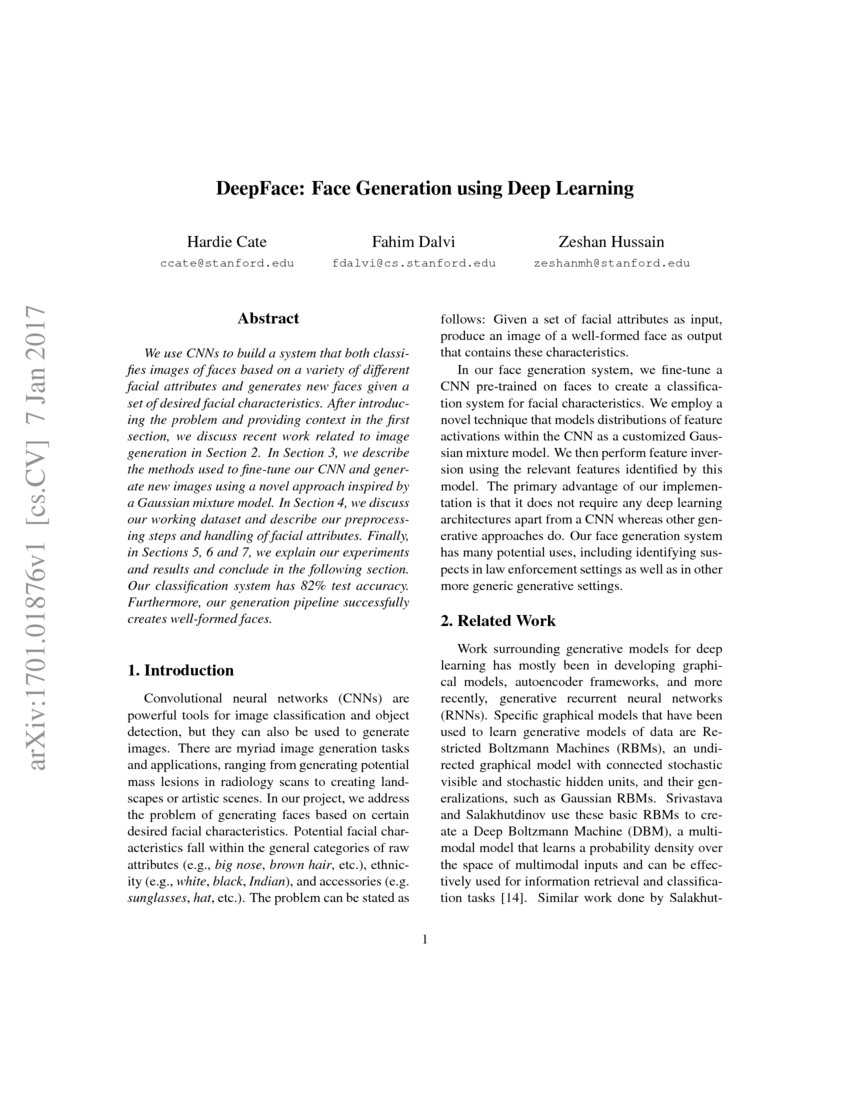DeepFace: Face Generation using Deep Learning | DeepAI
