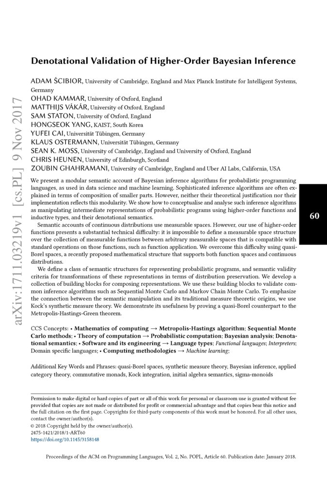 Denotational validation of higher-order Bayesian inference