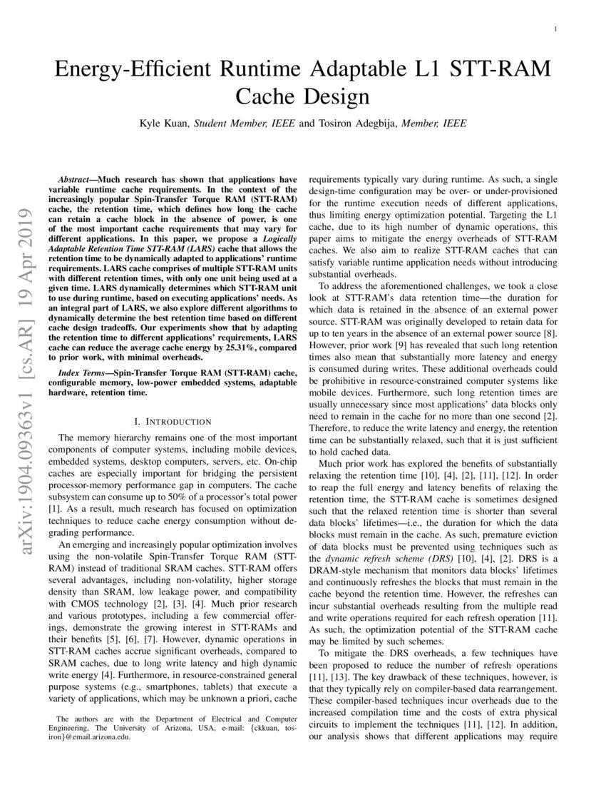 Energy-Efficient Runtime Adaptable L1 STT-RAM Cache Design