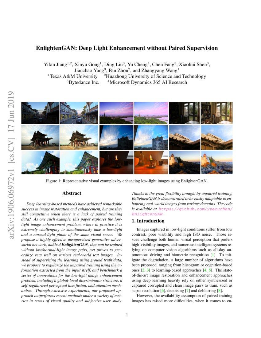 EnlightenGAN: Deep Light Enhancement without Paired