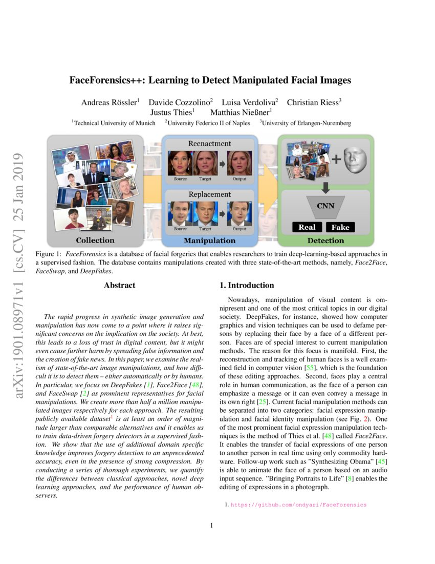 FaceForensics++: Learning to Detect Manipulated Facial
