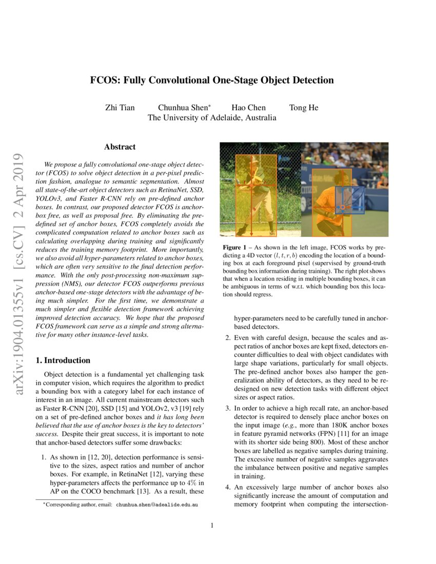 FCOS: Fully Convolutional One-Stage Object Detection | DeepAI