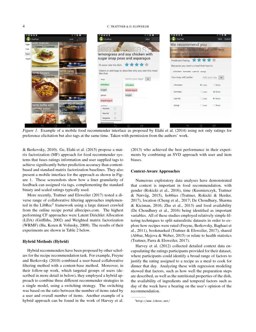 Food Recommender Systems: Important Contributions