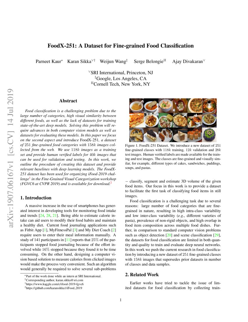 FoodX-251: A Dataset for Fine-grained Food Classification