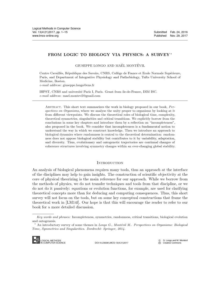 From Logic to Biology via Physics: a survey   DeepAI