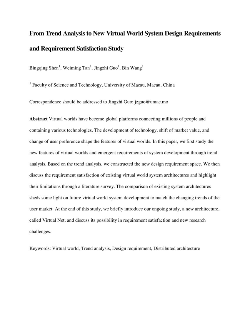 From Trend Analysis To New Virtual World System Design Requirements And Requirement Satisfaction Study Deepai