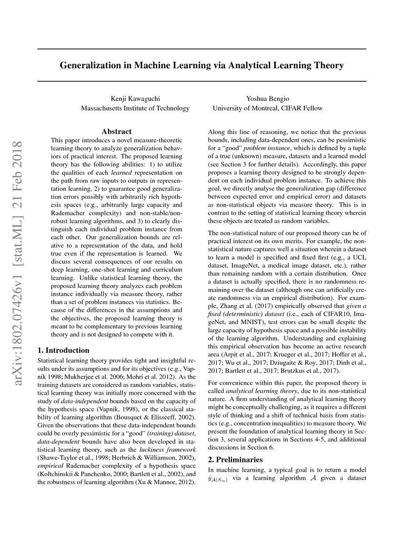 Analytical Learning generalization in machine learning via analytical learning