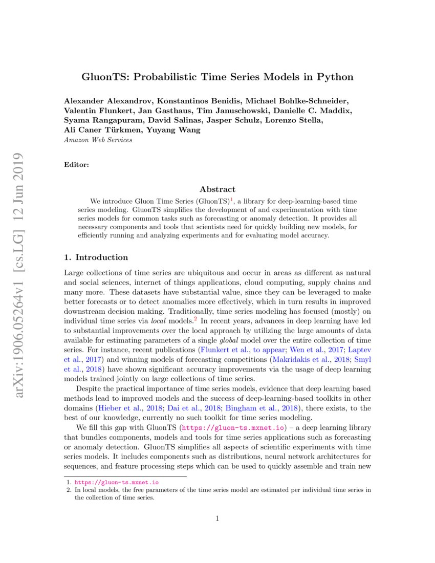 GluonTS: Probabilistic Time Series Models in Python | DeepAI