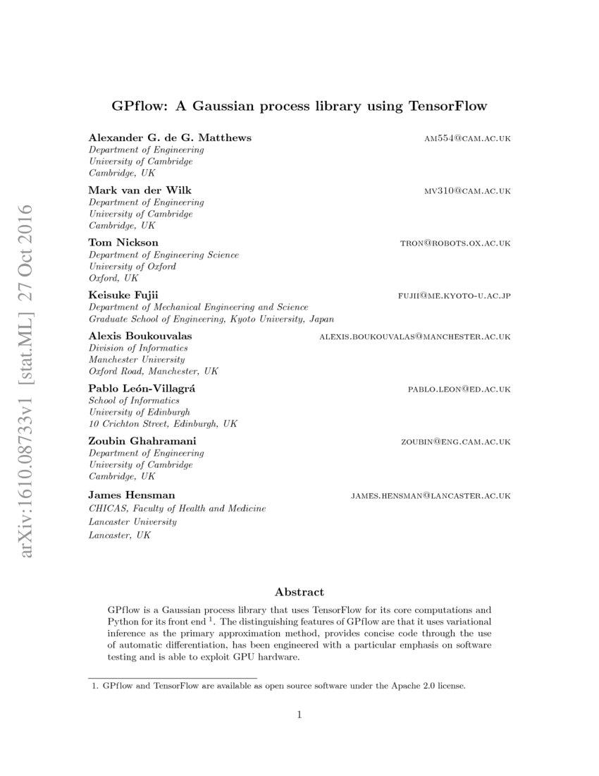 GPflow: A Gaussian process library using TensorFlow | DeepAI