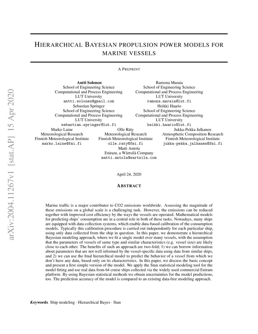 Hierarchical Bayesian Propulsion Power Models For Marine Vessels Deepai