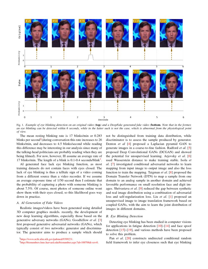 In Ictu Oculi: Exposing AI Generated Fake Face Videos by