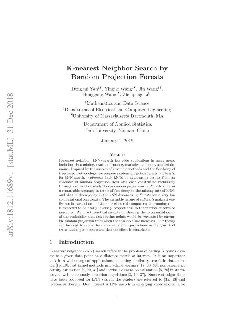 K-nearest Neighbor Search by Random Projection Forests | DeepAI