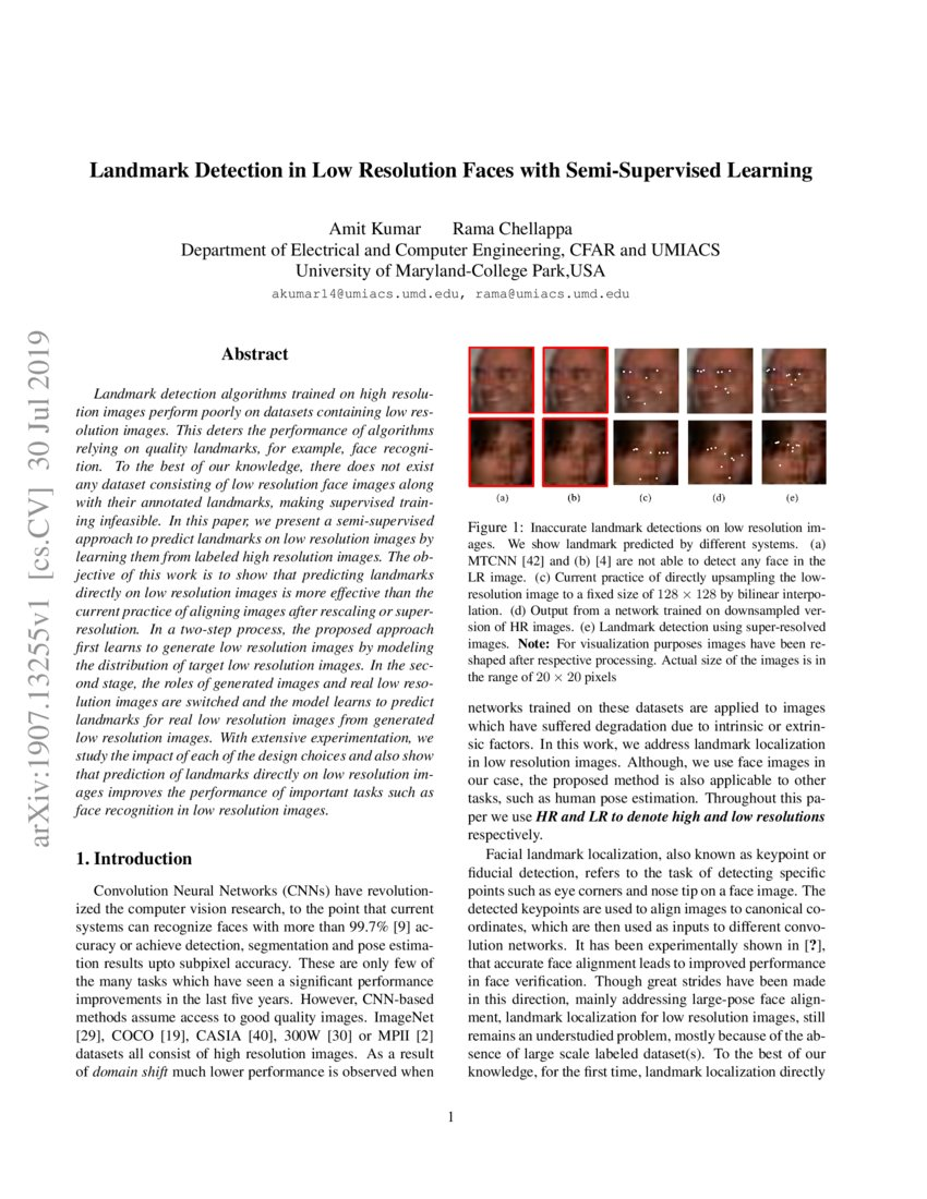 Landmark Detection in Low Resolution Faces with Semi