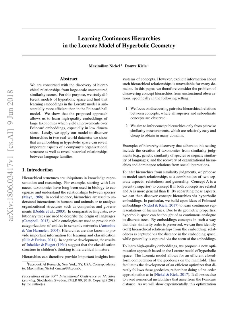 Learning Continuous Hierarchies in the Lorentz Model of Hyperbolic