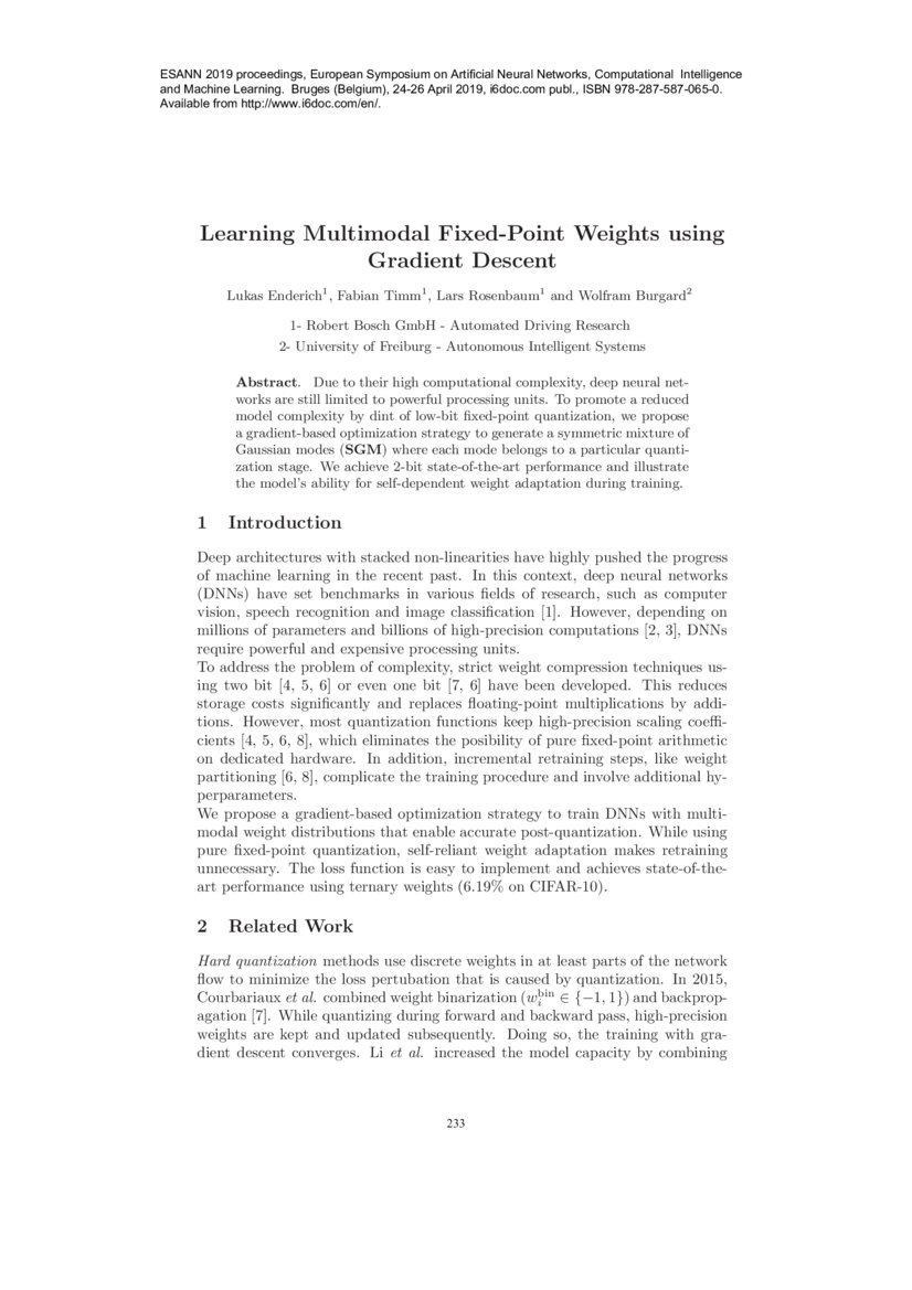 Learning Multimodal Fixed-Point Weights using Gradient Descent | DeepAI