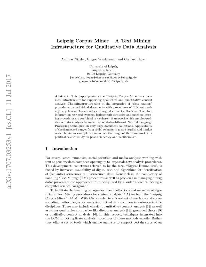 Leipzig Corpus Miner A Text Mining Infrastructure For