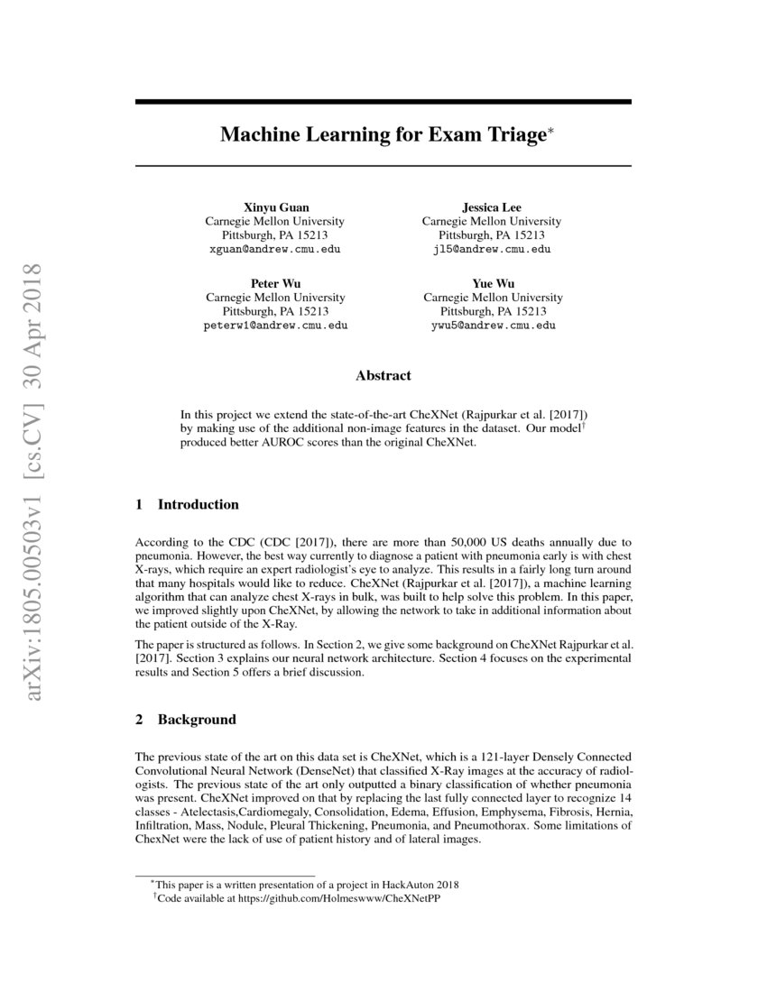 Machine Learning for Exam Triage | DeepAI