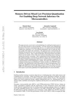 Memory-Driven Mixed Low Precision Quantization For Enabling