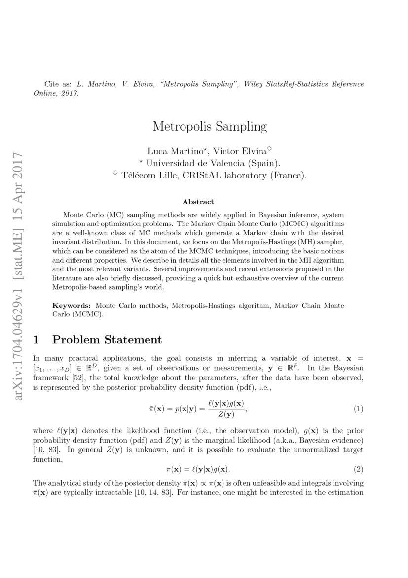 Metropolis Sampling - Research Article | DeepAI