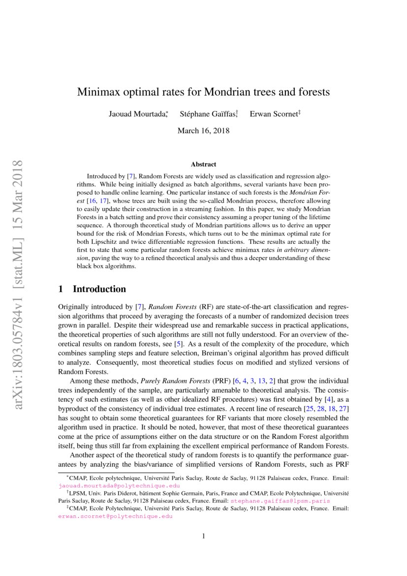 Minimax Optimal Rates For Mondrian Trees And Forests