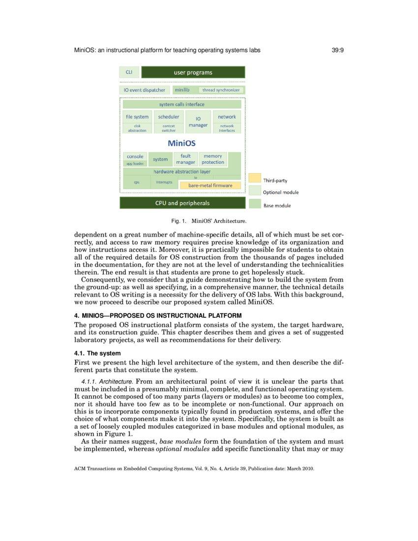 MiniOS: an instructional platform for teaching operating