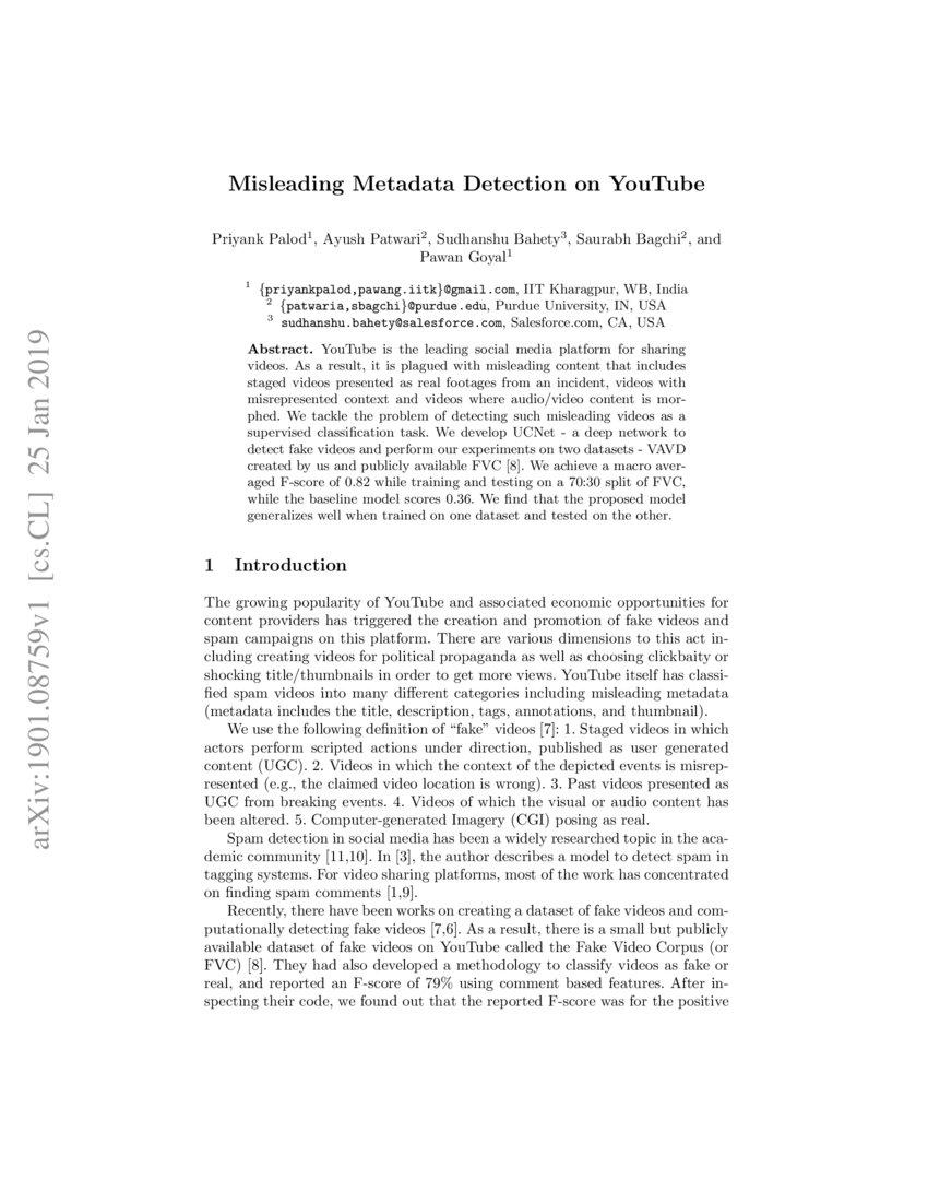 Misleading Metadata Detection on YouTube | DeepAI