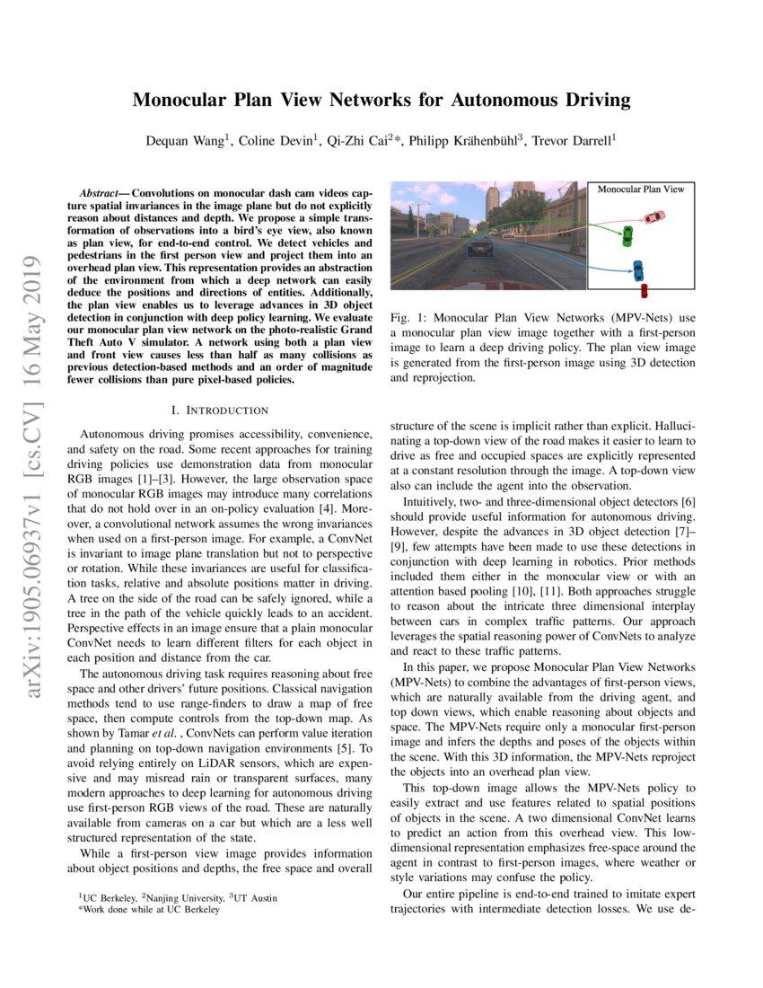 Monocular Plan View Networks for Autonomous Driving | DeepAI