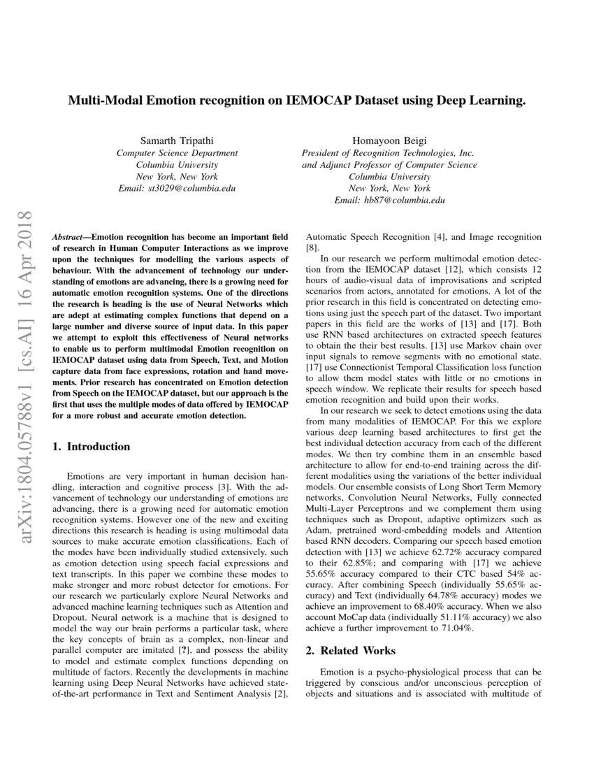 Multi-Modal Emotion recognition on IEMOCAP Dataset using Deep