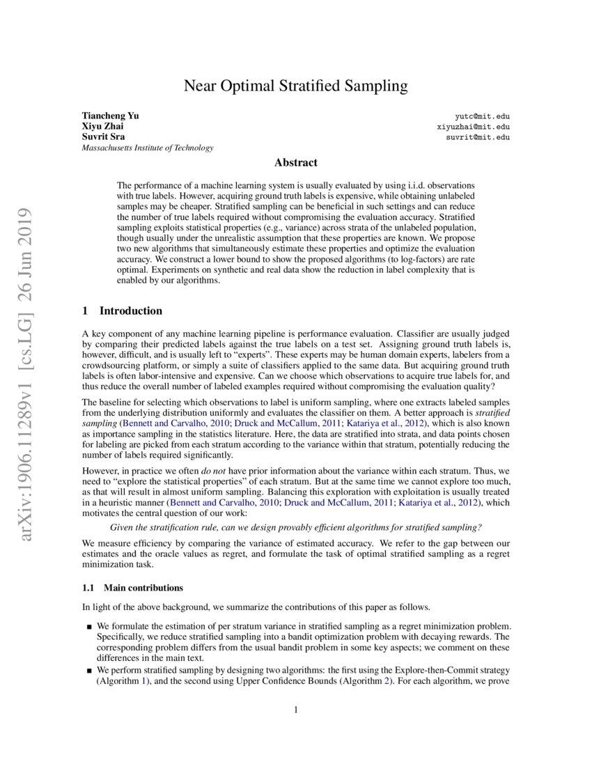 Near Optimal Stratified Sampling | DeepAI
