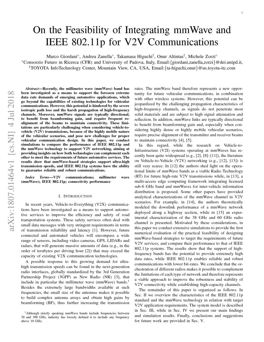 On the Feasibility of Integrating mmWave and IEEE 802 11p for V2V