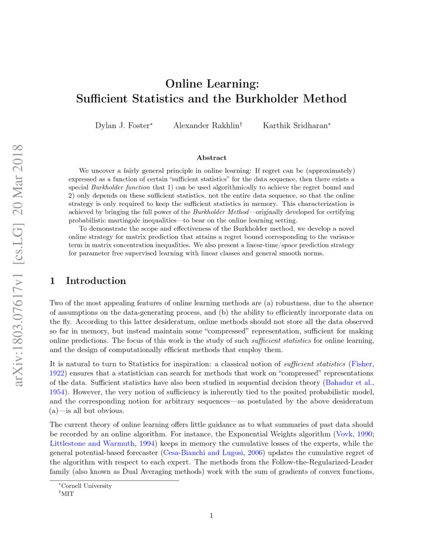 Online Learning: Sufficient Statistics and the Burkholder