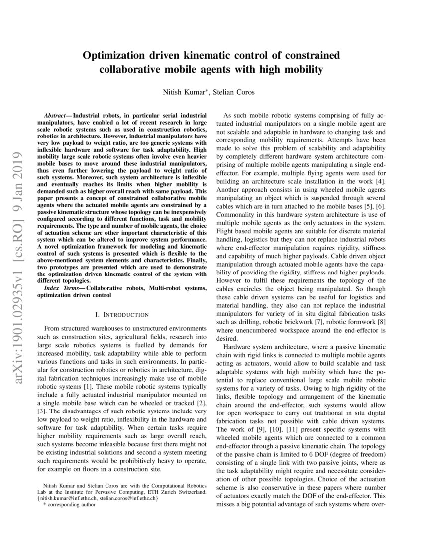 Optimization driven kinematic control of constrained