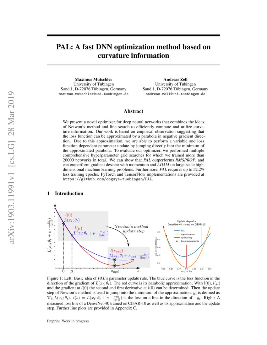 PAL: A fast DNN optimization method based on curvature